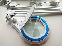 Led лампа лупа 3 D белая  металлическая синий кант, фото 1