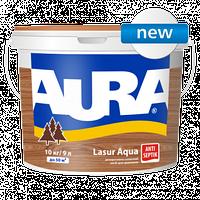 Декоративно-защитное средство для деревянных фасадов Aura  Lasur aqua (Аура лазурь аква) бесцветный 9л.