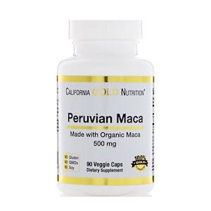 California Gold Nutrition, Перуанская мака, Органический корень, 500 мг, 90 вегетарианских капсул