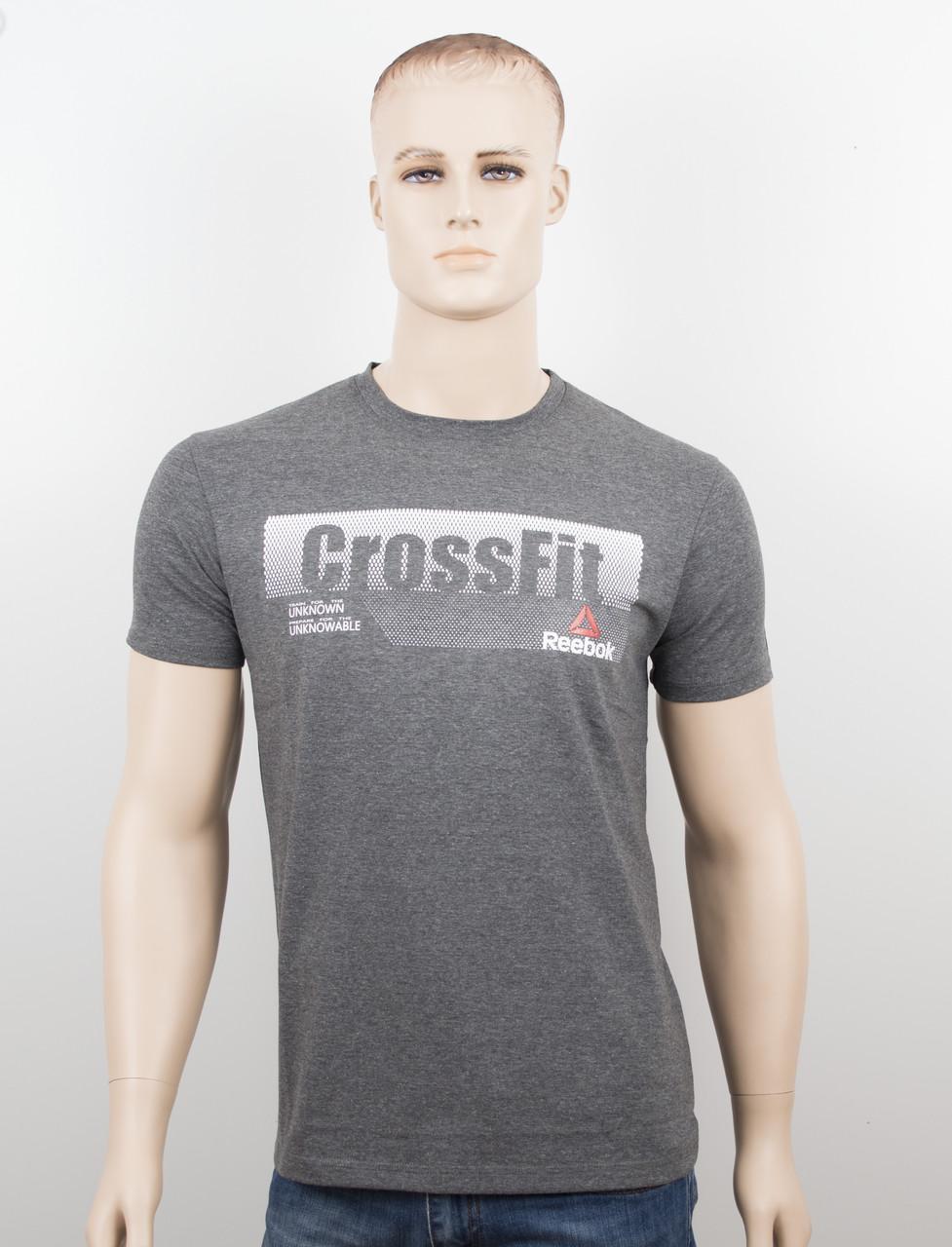 """Мужская футболка """"Reebok Crossfit"""" т.серый"""