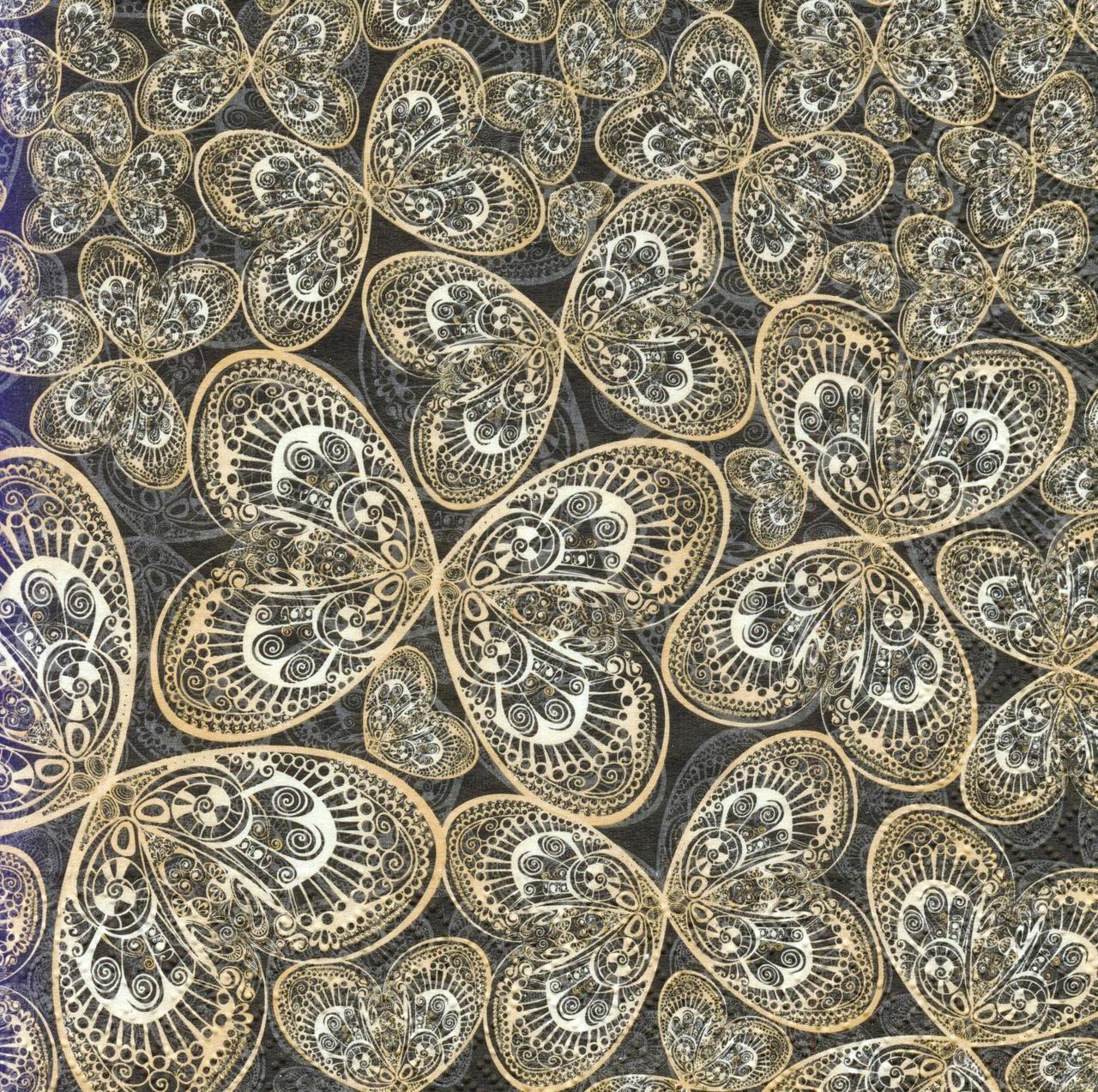Декупажная салфетка Золотые бабочки 3256