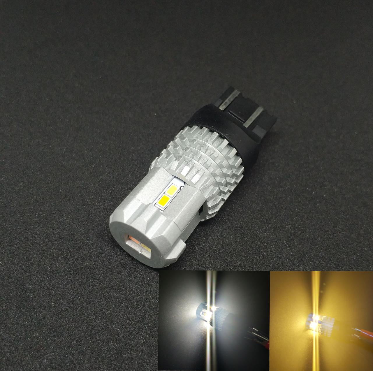 Светодиодная автолампа LED, ДХО, Поворот, T20, W21/5W, 7443, 12V, 12 SMD 3020, Белая/Желтая