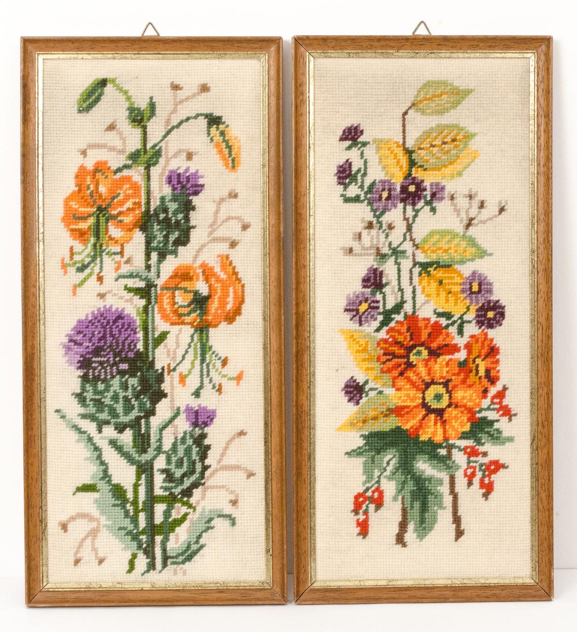 Два винтажных гобелена ручной работы, вышивка в деревянной раме, Германия