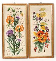Два винтажных гобелена ручной работы, вышивка в деревянной раме, Германия, фото 1