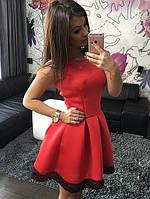 Женское стильное платье клёш с кружевом