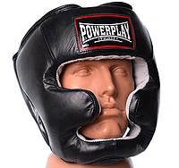 Кожаный боксерский шлем PowerPlay черный