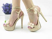 Женские стильные бежевые босоножки на шпильке 1029-2