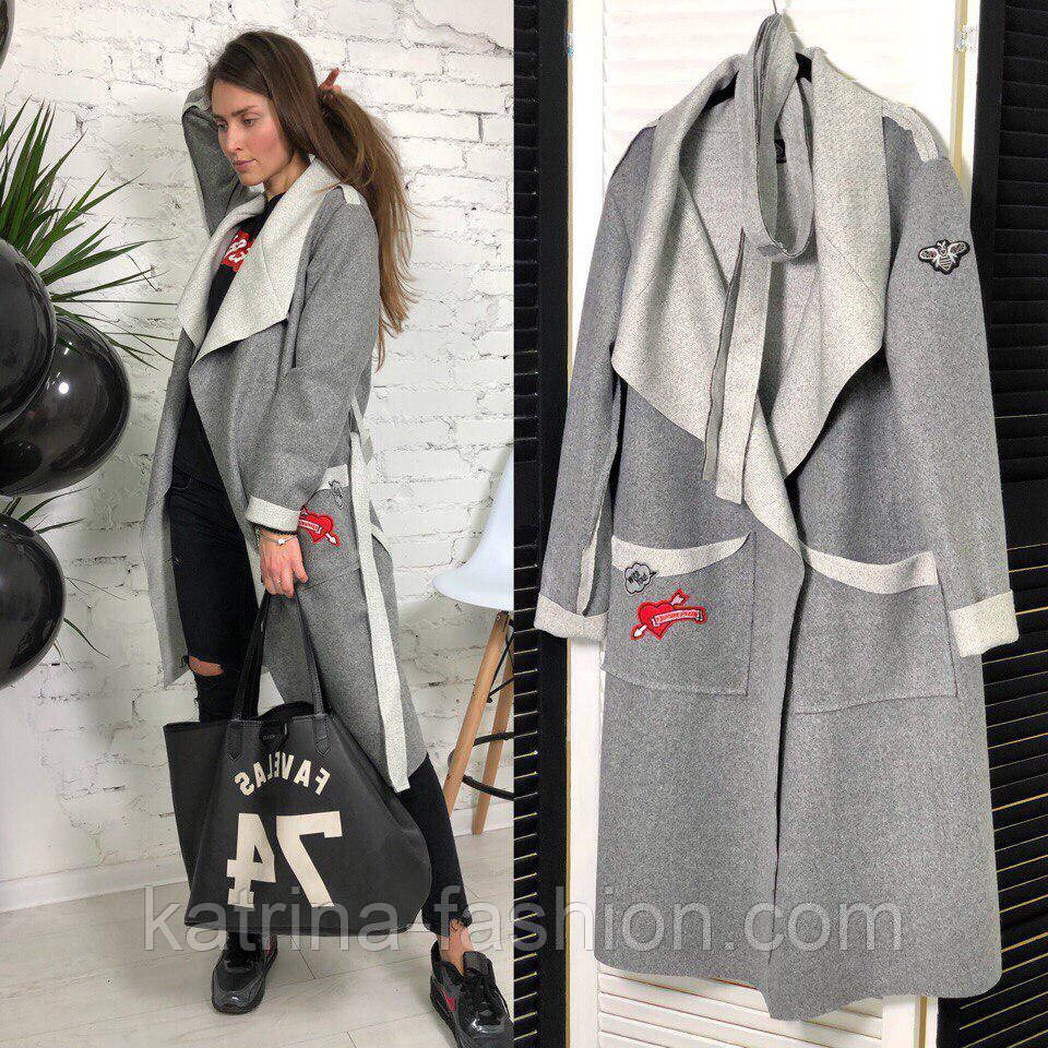 Женское стильное пальто-кардиган с нашивками или без (2 цвета ... 7a1e7c29bb571