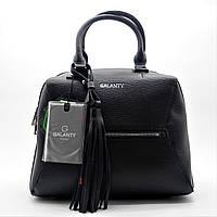Шикарная женская сумочка GАLАNTY из прессованной кожи черного цвета LEU-240592, фото 1