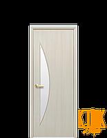 Межкомнатные двери Новый Стиль Луна стекло сатин (дуб жемчужный) экошпон