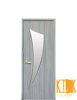 Межкомнатные двери Новый Стиль Парус стекло сатин (ясень патина) экошпон