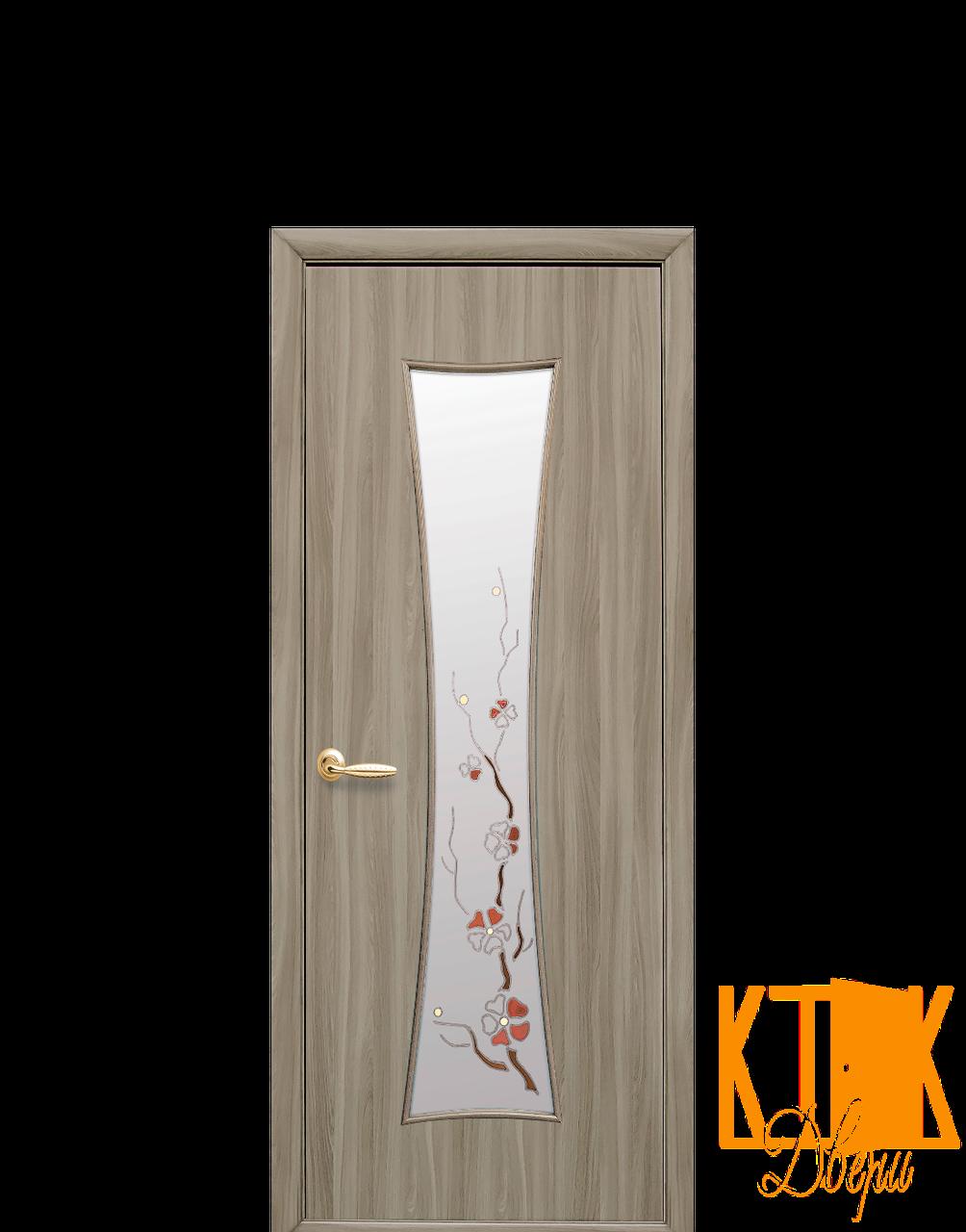 Межкомнатные двери Новый Стиль Часы с рисунком Р1 (сандал) экошпон