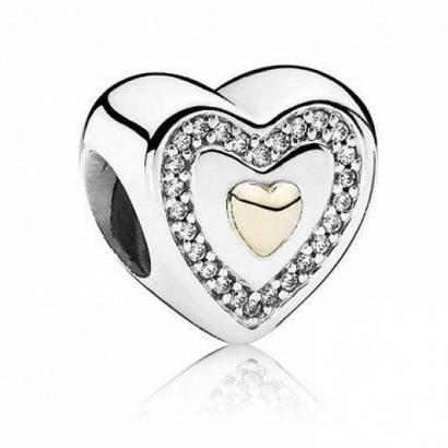 Шарм «Навсегда в моем сердце» из серебра 925 пробы с золотом