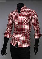 Рубашка мужская в красную клетку XS / 36