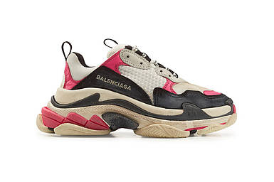 Кроссовки Женские Balenciaga Triple-S Sneaker White/Black/Pink Розовые