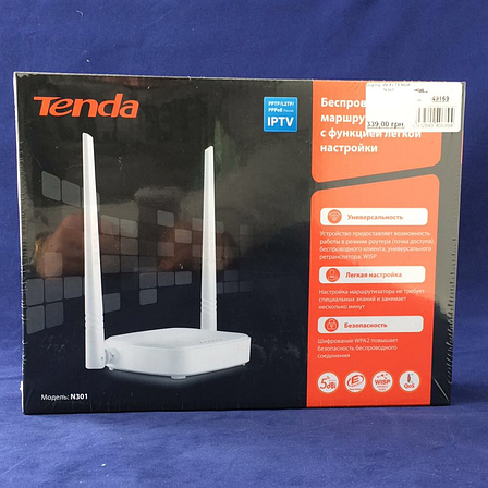 Роутер Wi-Fi TENDA N301 EAN/UPC: 6932849406894