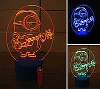3d-светильник Миньон-гитарист, 3д-ночник, несколько подсветок (на батарейке)