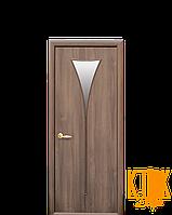Межкомнатные двери Новый Стиль Бора ПВХ стекло сатин (золотая ольха)