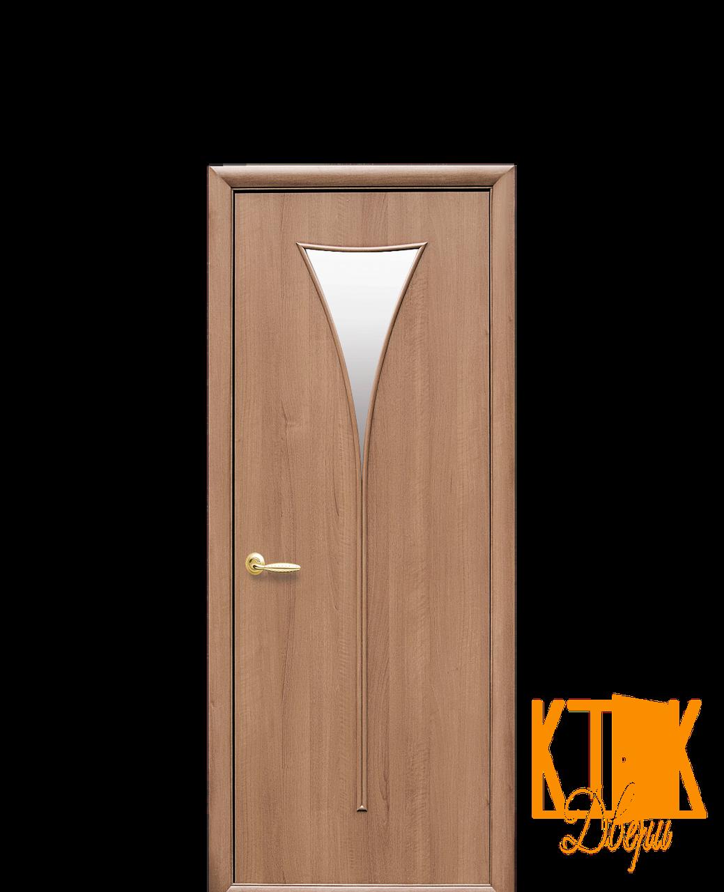 Межкомнатные двери Новый Стиль Бора ПВХ стекло сатин (золотая ольха )