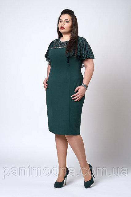 Женское Платье с кружевом. Изумруд