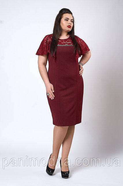 Платье из креп-дайвинга с гипюром. Бордо