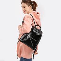 Акция на черные женские кожаные рюкзаки для модниц