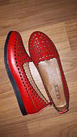 Балетки летние красные кожаные, фото 1