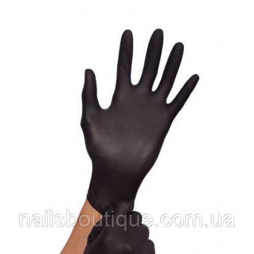 Перчатки нитриловые неопудренные, размер М, черные, пара