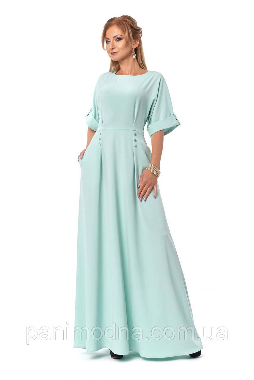 Длинное платье со спущенной линией плеча и свободным верхом. Новинка 2018