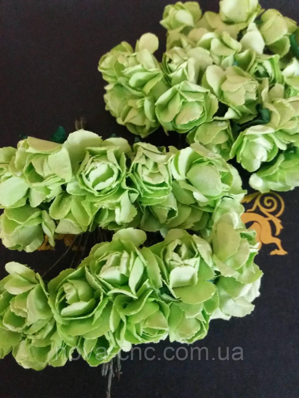 Декоративні квіти паперові, салатові 1 пачка 12 пучків