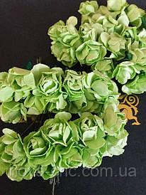 Декоративные бумажные цветы салатовые 1 пачка 12 пучков