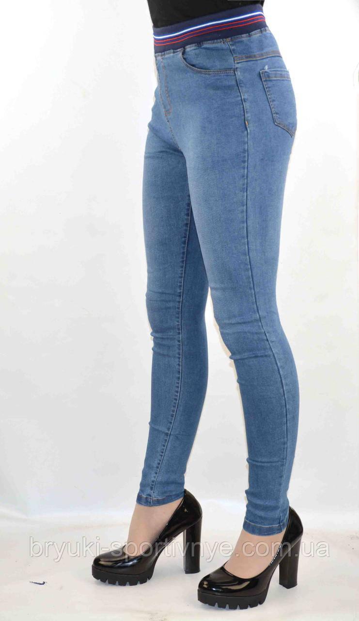 cb235b40688 Джинсы женские стрейч - Трикотажный пояс синий