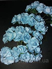 Декоративные бумажные цветы светло голубой 1 пачка 12 пучков