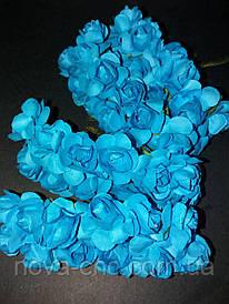 Декоративные бумажные цветы голубой 1 пачка 12 пучков