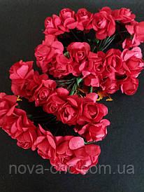 Декоративные бумажные цветы красный 1 пачка 12 пучков