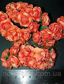 Декоративные бумажные цветы оранжевый 1 пачка 12 пучков