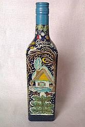 Декоративна пляшка з ручним розписом, авторський малюнок
