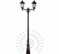 Садово-парковый фонарь 2,2м, 2 лампы античное золото PL1102