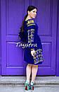 Синее платье вельвет, Бархатное платье вышивка золотом, бохо шик, вышиванка, украинская вышивка, теплое платье, фото 3