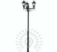 Садово-парковый фонарь  2,2м, 3 лампы античное золото PL1103