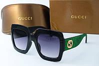 Солнцезащитные очки квадратные Gucci черные с зеленым, фото 1