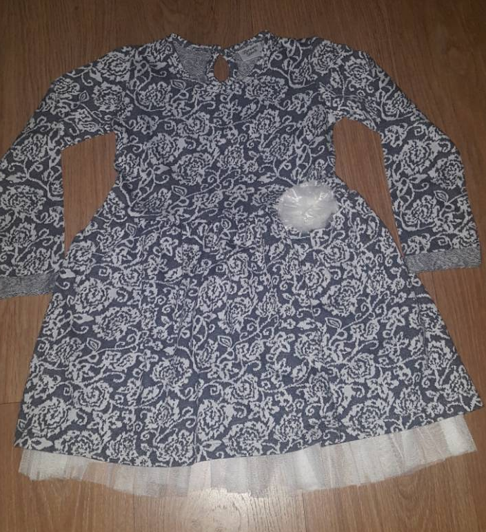 Платье для девочки, серо-молочное в цветочки, нарядное, 116, 128, 134, 140, BREEZE (Бризе) Турция