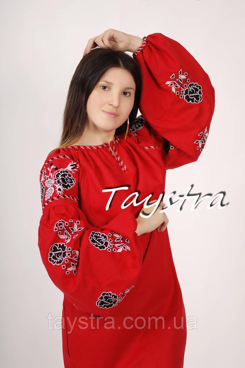 Вышитое платье - туника лен в Бохо-стиле, этно