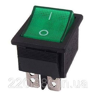 Выключатель прямоугольный с подсветкой зеленый A14Y EMAS