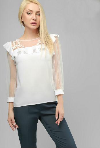 76ed4596c43 Купить Белая нарядная блуза с прозрачными рукавами 682072581 ...