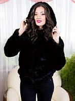 Женская модная короткая шубка  с капюшоном , фото 1