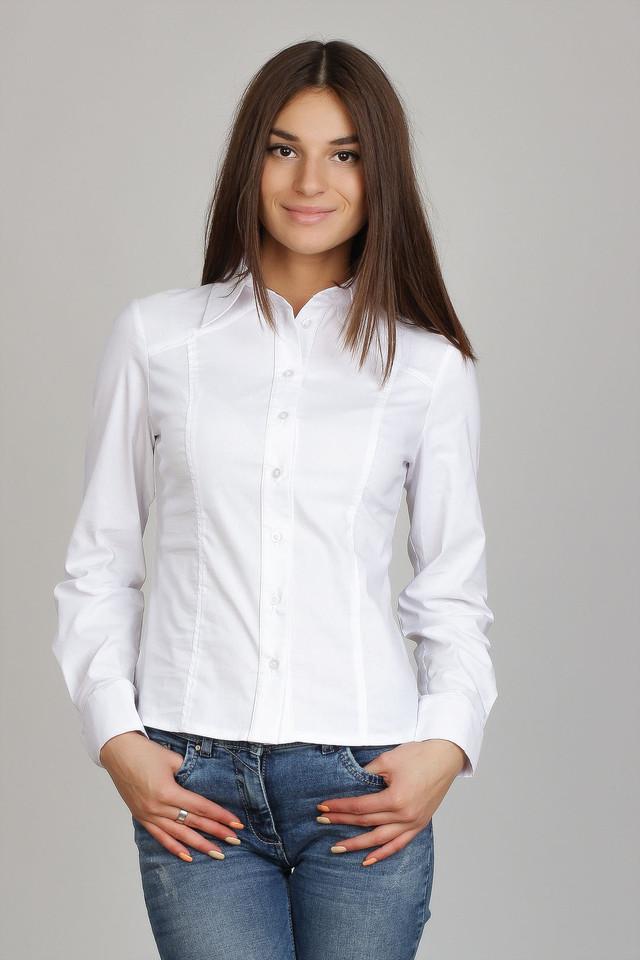 Белая женская рубашка с рельефными швами Р73