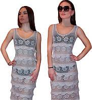"""Белое вязаное платье в пол с ажурными принтами """"фестоны"""" ручной работы"""