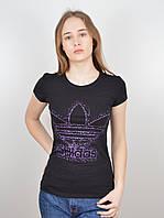 """Женская футболка Глитер """"Adidas"""" черный+фиолет, фото 1"""