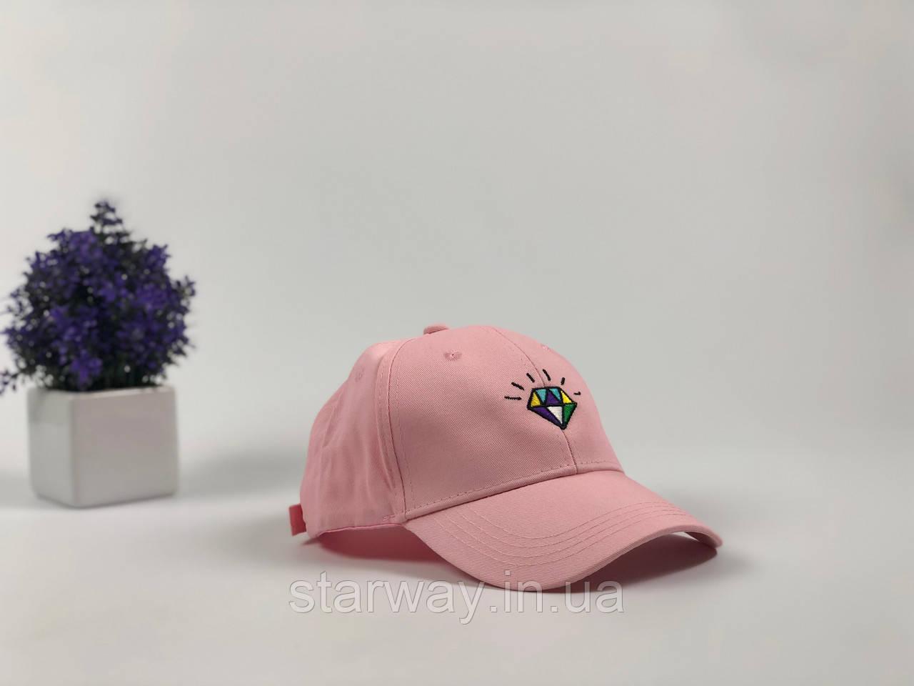 Кепка розовая Diamond логотип вышивка